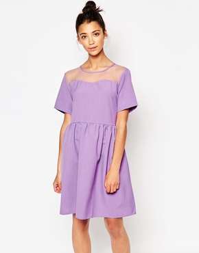 photo Sheer Scallop Panel Dress by The WhitePepper, color Lilac - Image 1