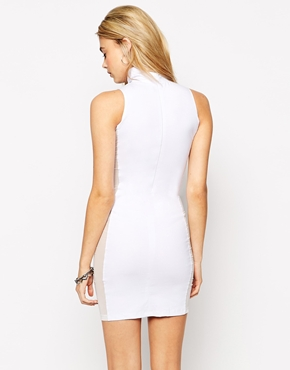 photo Vice. High Neck Bodycon Dress by This Is A Love Song, color White Black - Image 2