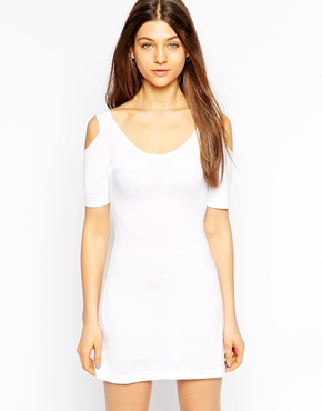 photo Cold Shoulder Jersey Dress by Tired Of Tokyo, color White - Image 1