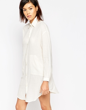 photo Shirt Dress by Tired Of Tokyo, color Beige - Image 1