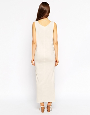 photo Sleeveless Jersey Maxi Dress with Asymetric Hem by Tired Of Tokyo, color Camel - Image 2