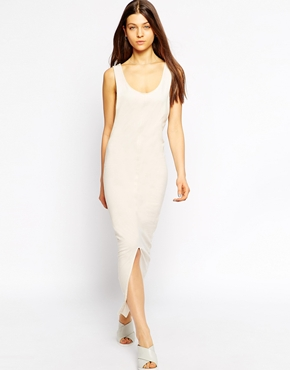 photo Sleeveless Jersey Maxi Dress with Asymetric Hem by Tired Of Tokyo, color Camel - Image 1