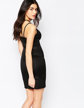 photo Bodycon Dress with Cross Over Strap Detail by Twin Sister, color Black - Image 2