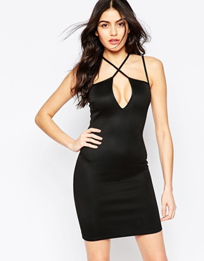 photo Bodycon Dress with Cross Over Strap Detail by Twin Sister, color Black - Image 1