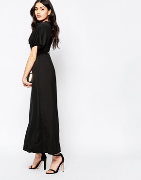 photo Maxi Dress with Kimono Sleeves and Gold Bar Belt by Twin Sister, color Black - Image 2