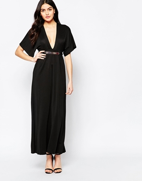 photo Maxi Dress with Kimono Sleeves and Gold Bar Belt by Twin Sister, color Black - Image 1
