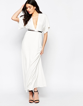 photo Maxi Dress with Kimono Sleeves and Gold Bar Belt by Twin Sister, color Cream - Image 1