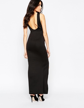 photo Maxi Dress with Plunge Notch Neckline by Twin Sister, color Black - Image 2