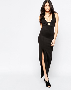 photo Maxi Dress with Plunge Notch Neckline by Twin Sister, color Black - Image 1