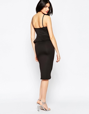 photo Plunge Midi Dress with Peplum by Twin Sister, color Black - Image 2