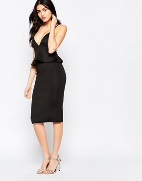 photo Plunge Midi Dress with Peplum by Twin Sister, color Black - Image 1
