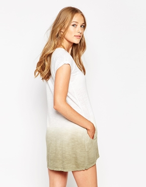 photo Dip Dye T-Shirt Dress by Twisted Muse, color White Dessert - Image 2