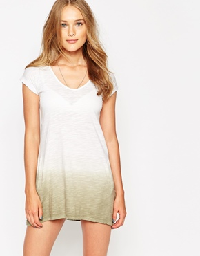 photo Dip Dye T-Shirt Dress by Twisted Muse, color White Dessert - Image 1
