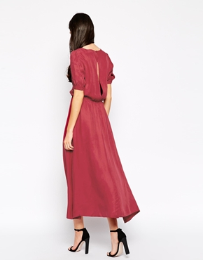 photo Reyna Maxi Dress with Side Split by Ukulele, color Red - Image 2