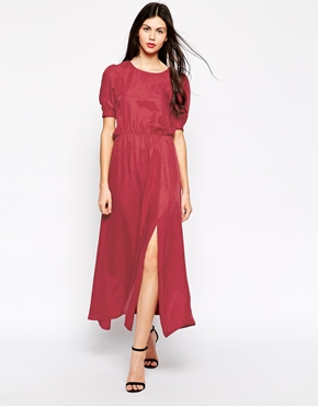 photo Reyna Maxi Dress with Side Split by Ukulele, color Red - Image 1