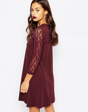 photo Swing Dress with Contrast Lace 3/4 Sleeves by Vero Moda Petite, color Fudge - Image 2
