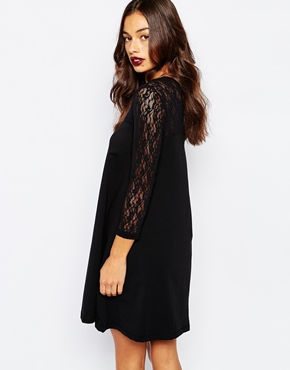 photo Swing Dress with Contrast Lace 3/4 Sleeves by Vero Moda Petite, color Black - Image 2