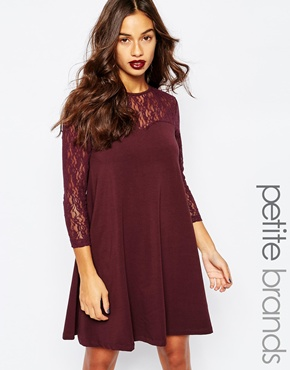 photo Swing Dress with Contrast Lace 3/4 Sleeves by Vero Moda Petite, color Fudge - Image 1