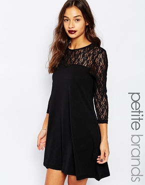 photo Swing Dress with Contrast Lace 3/4 Sleeves by Vero Moda Petite, color Black - Image 1