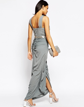 photo Virgo's Lounge Isabella Halter Maxi Dress with Beaded Top, color Grey - Image 2