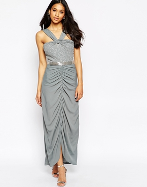 photo Virgo's Lounge Isabella Halter Maxi Dress with Beaded Top, color Grey - Image 1