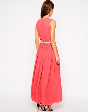 photo Camden Maxi Dress with Thigh Split by VLabel London, color Pink - Image 2