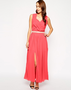 photo Camden Maxi Dress with Thigh Split by VLabel London, color Pink - Image 1