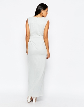 photo Wrap Front Maxi Dress by VLabel London, color Silver Grey - Image 2