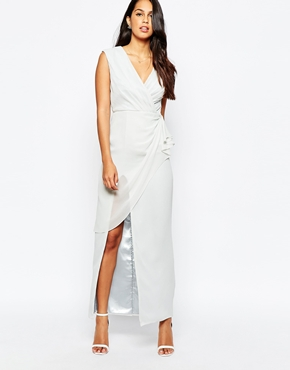photo Wrap Front Maxi Dress by VLabel London, color Silver Grey - Image 1