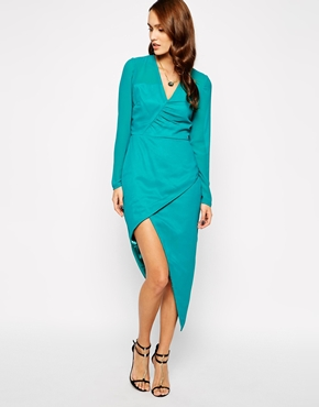 photo Mayfair Wrap Dress by VLabel London, color Turquoise - Image 1