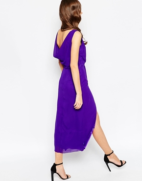 photo Rosslyn Maxi Dress with Thigh Split by VLabel London, color Purple - Image 2