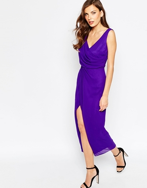 photo Rosslyn Maxi Dress with Thigh Split by VLabel London, color Purple - Image 1