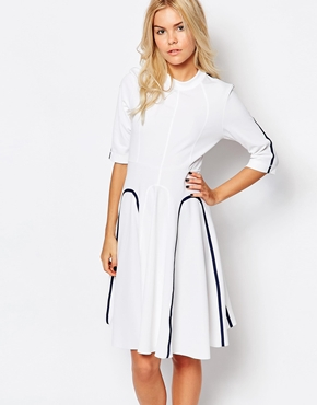 photo Janis Dress by Wood Wood, color White Navy - Image 1