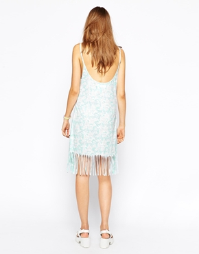 photo Flamingo Fringed Vest Dress by Worn By, color Baby Blue - Image 2