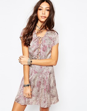 photo Hayley Tea Dress In Animal Print with Lace Up Front by WYLDR, color Multi - Image 1