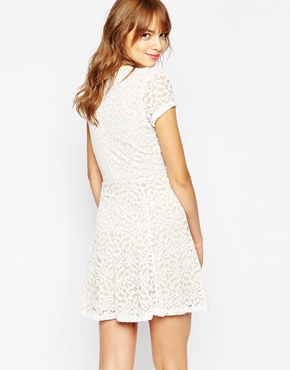 photo Hayley Tea Dress In Lace with Lace Up Front by WYLDR, color Ivory - Image 2
