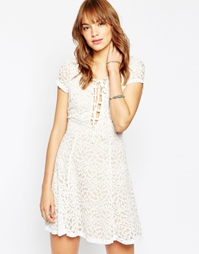 photo Hayley Tea Dress In Lace with Lace Up Front by WYLDR, color Ivory - Image 1