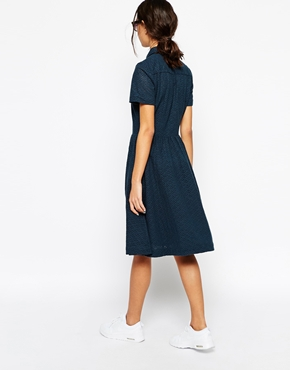 photo Midi Shirt Dress with Full Skirt by YMC, color Navy - Image 2