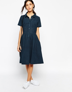 photo Midi Shirt Dress with Full Skirt by YMC, color Navy - Image 1