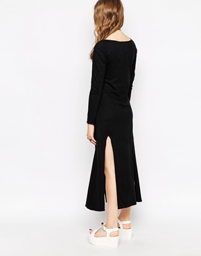 photo Long Sleeve Maxi Dress with Thigh High Splits by Your Eyes Lie, color Black - Image 2