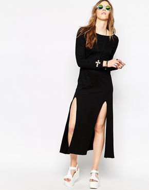 photo Long Sleeve Maxi Dress with Thigh High Splits by Your Eyes Lie, color Black - Image 1