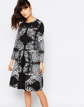 photo Leopard Skater Dress by A Question Of, color Black - Image 1