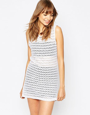 photo Sleeveless Mesh Dress with Low Back by American Apparel, color White - Image 2