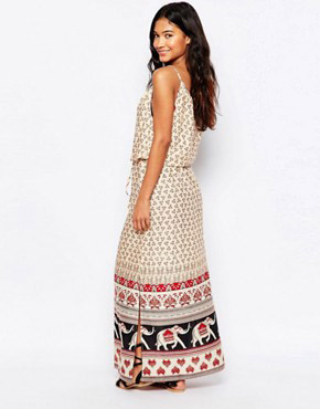 photo Elephant Border Print Maxi Beach Dress by Anmol, color Multi - Image 2