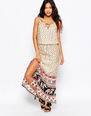 photo Elephant Border Print Maxi Beach Dress by Anmol, color Multi - Image 1