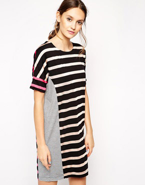 photo Choice Cut Striped Dress by Antipodium, color Neutral - Image 1