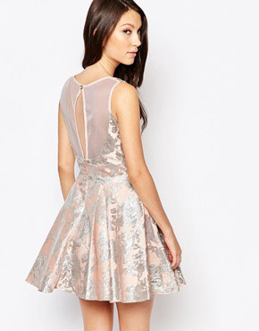 photo Ashley Roberts for Key Collections Angelic Jacquard Skater Dress, color Pink - Image 2
