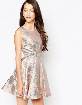 photo Ashley Roberts for Key Collections Angelic Jacquard Skater Dress, color Pink - Image 1
