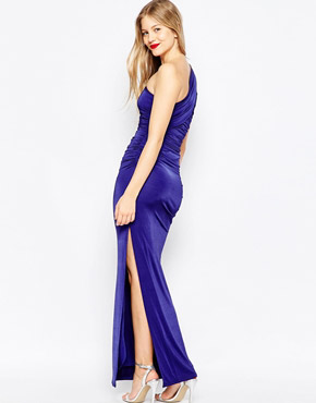 photo Richmond One Shoulder Maxi Dress by Binky for Lipstick Boutique, color Blue - Image 2
