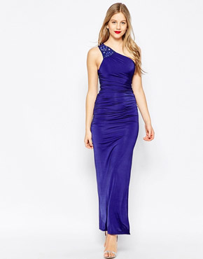 photo Richmond One Shoulder Maxi Dress by Binky for Lipstick Boutique, color Blue - Image 1